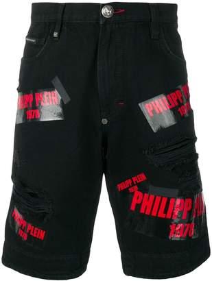 Philipp Plein multi logo denim shorts