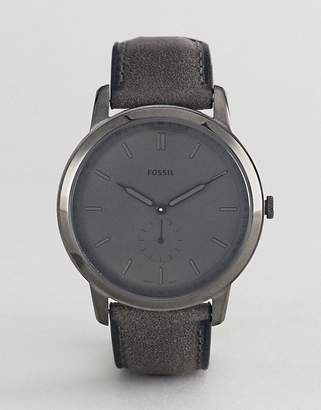 Fossil FS5445 The Minimalist Leather Watch in Smoke Gray