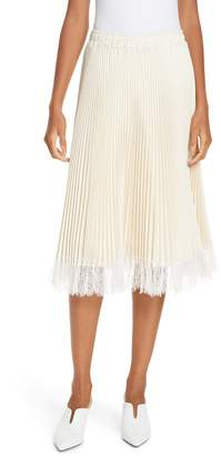 Clu Pleated Metallic Lace Trim Skirt