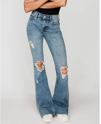 Express mid rise distressed stretch bell flare jeans