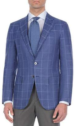 Isaia Windowpane Plaid Wool-Blend Sport Coat