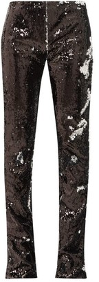 Marques Almeida Marques'almeida - Two Way Sequinned Bootcut Trousers - Womens - Silver
