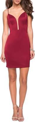 La Femme Strappy Back Satin Party Dress
