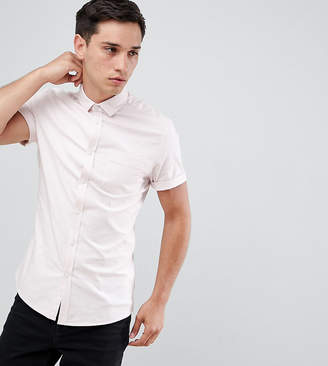 Asos Design DESIGN Tall skinny oxford shirt in pale pink with short sleeves
