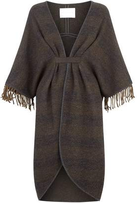 Fabiana Filippi Leather Trim Fringed Cape