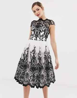 Bardot Chi Chi London premium lace midi prom dress with neck in mono