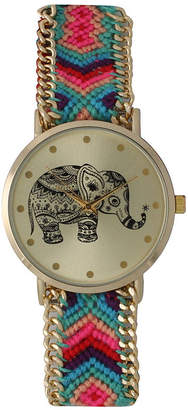 OLIVIA PRATT Olivia Pratt Womens Multicolor Braided Elephant Print Dial Strap Watch 14811