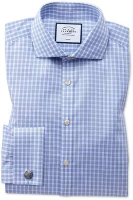Charles Tyrwhitt Extra Slim Fit Non-Iron Twill Sky Blue Gingham Cotton Dress Shirt French Cuff Size 15/33