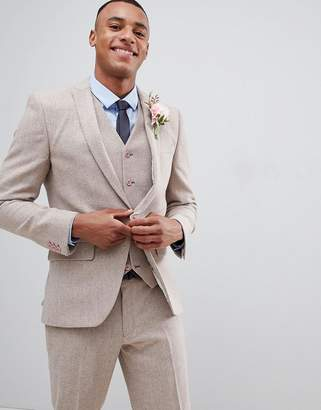 Asos Design DESIGN wedding skinny suit jacket in dusky pink herringbone