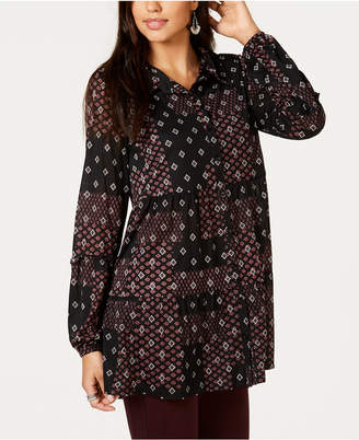 Style&Co. Style & Co Printed Split-Neck Tunic Top, Created for Macy's