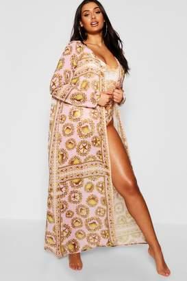 boohoo Plus Shell Print Maxi Kimono