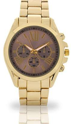 Unbranded Women's Gold Hematite Laser Watch, Metal Band
