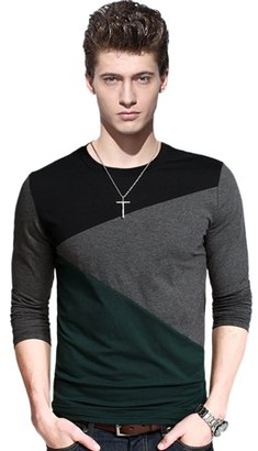 Glowsol Men's Long Sleeve Patchwork Slim Fit T-shirt Grey B XXXL