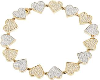 Sydney Evan Yellow Gold and Diamond Double Heart Eternity Bracelet