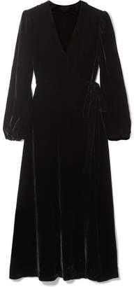 Les Rêveries - Velvet Wrap Midi Dress - Black