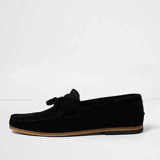 River Island Black wide fit suede tassel loafers
