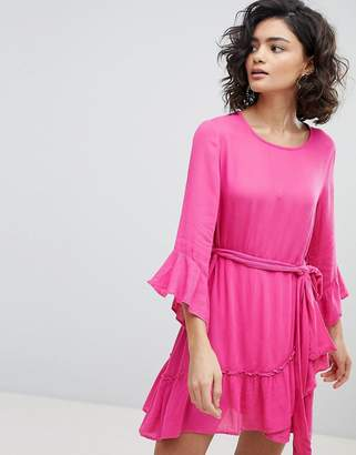 Vero Moda ruffle mini dress with wrap hem in pink