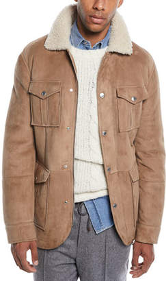 Brunello Cucinelli Men's Fur-Lined Suede Safari Jacket