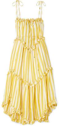 Zimmermann Lumino Asymmetric Ruffled Striped Linen Midi Dress - Yellow