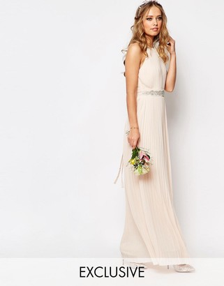 TFNC WEDDING High Neck Pleated Maxi Dress $78 thestylecure.com