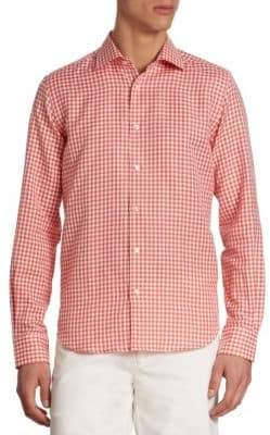 Saks Fifth Avenue COLLECTION Gingham Checked Linen-Blend Shirt