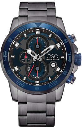 ESQ Men's ESQ0060 Stainless Steel Gun Metal Ip Chronograph Bracelet Watch, Blue Dial