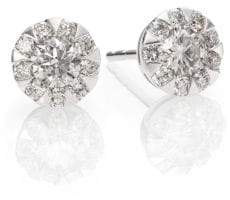 Kwiat Sunburst Diamond& 18K White Gold Stud Earrings