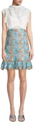 Three floor Hightide Ruffled Lace Embroidery Shirtdress