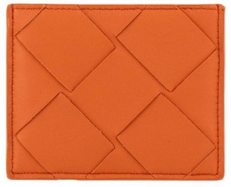 Bottega Veneta Wallet Card Holder In Woven Maxi Leather