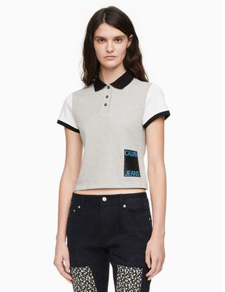 Calvin Klein colorblock stacked logo cropped polo shirt