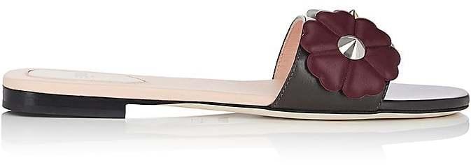 Fendi Women's Flower-Embellished Leather Slide Sandals