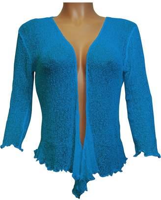 Ikat Ladies Crochet Fish Net Bolero Shrug Maternity Tie at Waist Cardigan