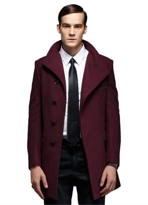 Insun Men's Lapel Collar Single Breasted Wool Long Trench Coat Jacket