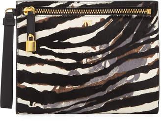 Tom Ford Zebra Baby Calf Wristlet Clutch Bag