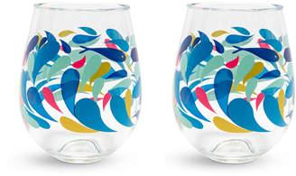 Vera Bradley Splash Stemless Wine Glasses, Set of 2