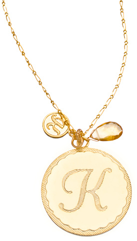 A.V. Max Gold and Gemstone Initial Pendant
