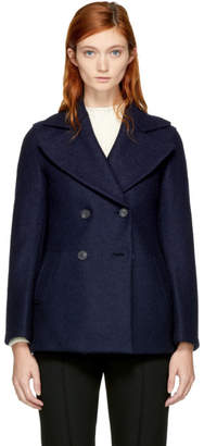 Harris Wharf London Navy Wool Short Peacoat