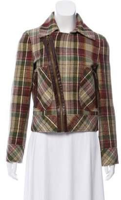 Cacharel Silk & Wool-Blend Jacket Olive Silk & Wool-Blend Jacket