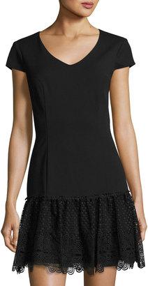 Julia Jordan Cap-Sleeve Lace-Trim Flounce Dress, Black $99 thestylecure.com
