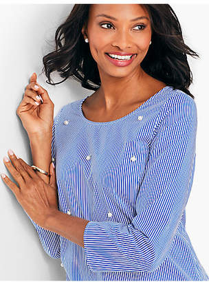 Talbots Field Stripe Pearl-Embellished Top