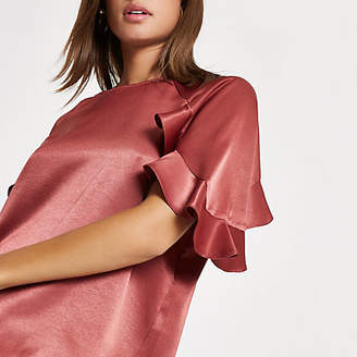 River Island Womens Copper chiffon frill sleeve top