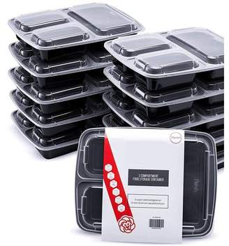ShopoKus Meal Prep Lunch Containers with Super Easy Open Lids - BPA-Free, Reusable, Microwavable - Bento Box Food Containers for Portion Control, and Leftovers (10 Pack) (3 Compartment)