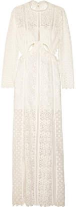 Self-Portrait Ruffled Cutout Guipure Lace Gown - White