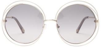 Chloé Carlina Round Frame Sunglasses - Womens - Grey