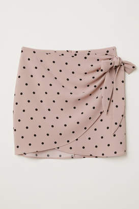H&M Short Wrap-front Skirt - Pink