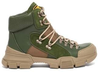Gucci Flashtrek Leather High Top Trainers - Womens - Dark Green