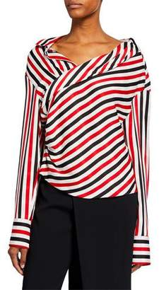 Hellessy Stellar Striped Draped Blouse