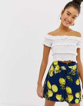 Glamorous Button Down Skirt In Lemon Print Two-Piece