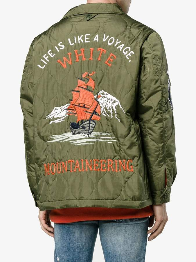 White Mountaineering embroidered quilted jacket