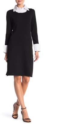 Nina Leonard Spread Collar Sweater Dress
